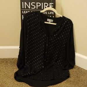 Button shirt black with silver studs and buttons